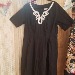 Eshakti black, fit and flare, s sleeve dress 22w